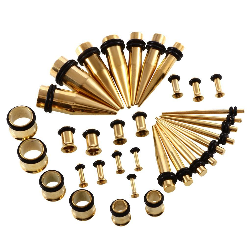 36-pezzi-Punk-Rock-Ear-Gauges-Kit-estensibile-Plugs-Espansori-Taper-14G-00G miniatura 10