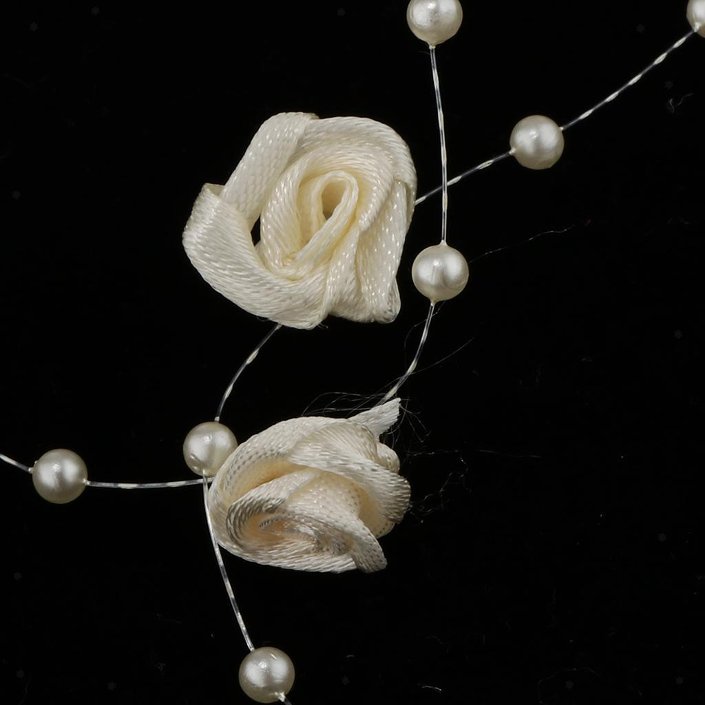 5m 10m 60m Fishing Line Pearls Chain Pearl Beads Chain: 10m Beads String Flower Pearls Chain Roll Fishing Line