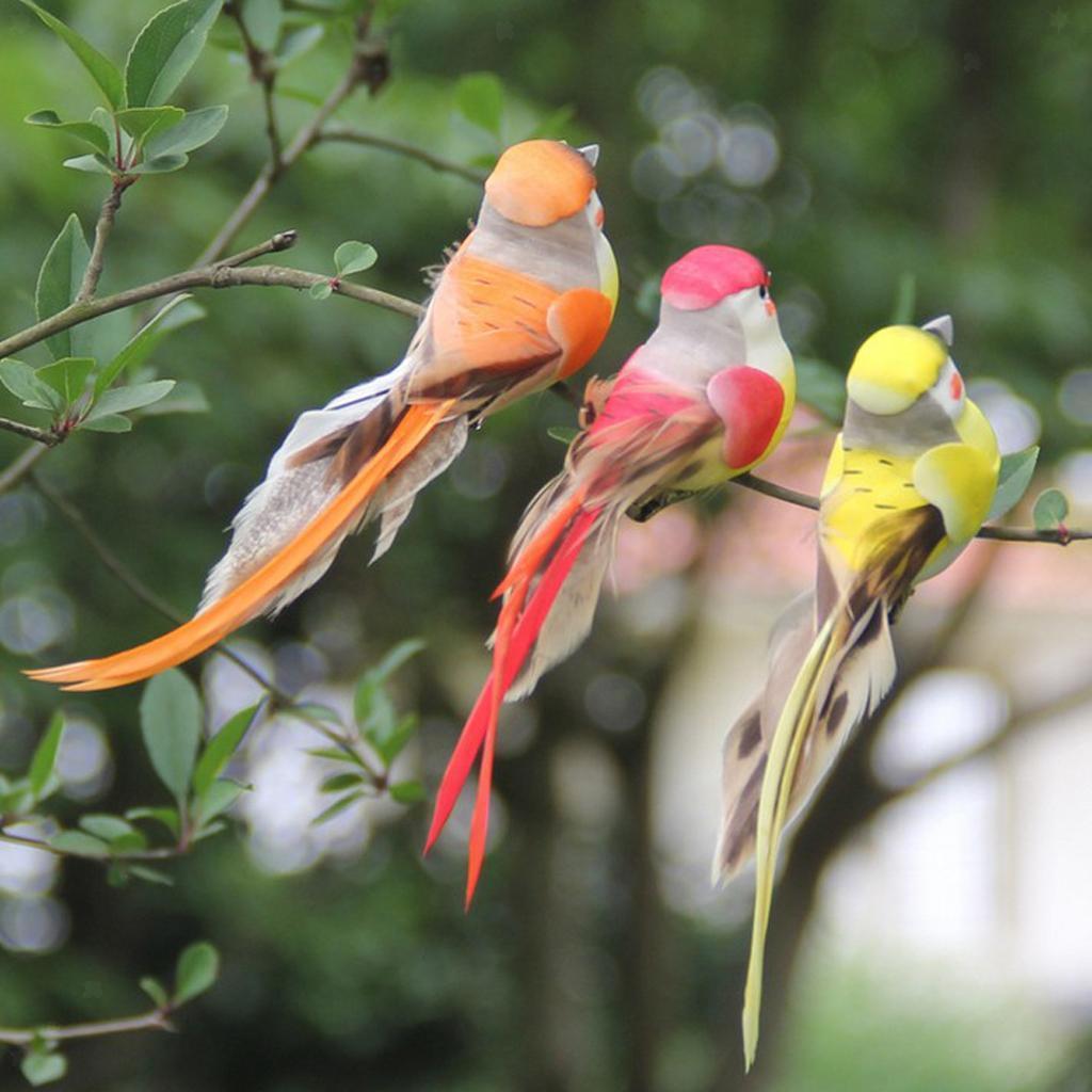 miniatura 5 - 12 Pezzi Uccelli Artificiali Schiuma con Piume Artigianato Multicolore