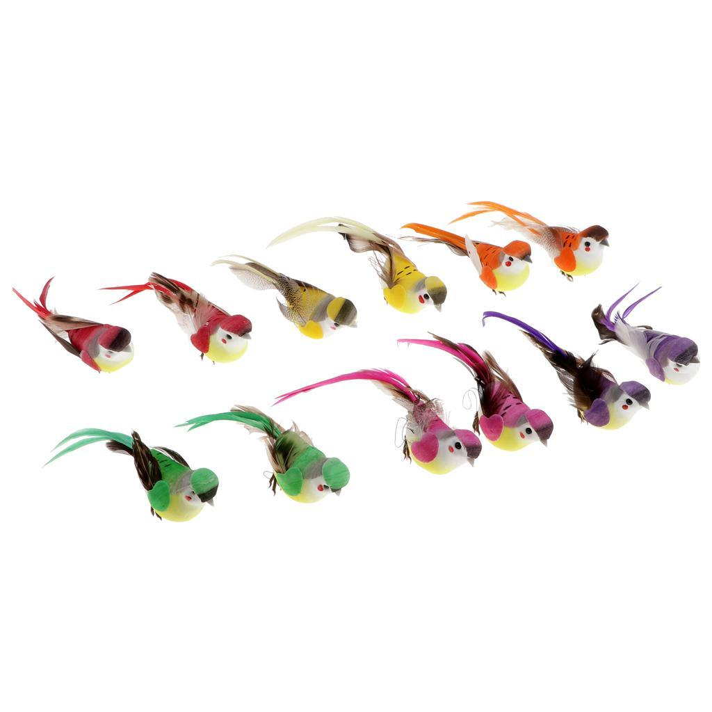miniatura 4 - 12 Pezzi Uccelli Artificiali Schiuma con Piume Artigianato Multicolore