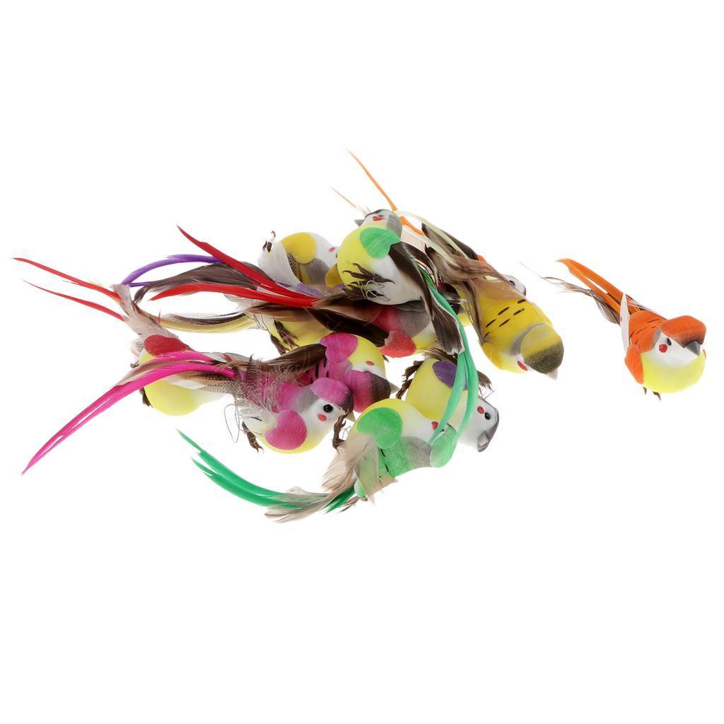 miniatura 3 - 12 Pezzi Uccelli Artificiali Schiuma con Piume Artigianato Multicolore
