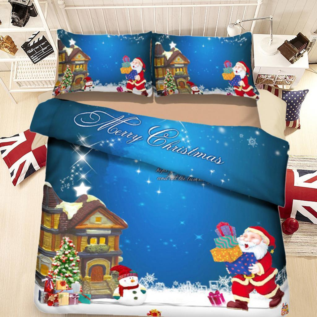 Christmas Themed Duvet Quilt Cover & Flat Sheet ...