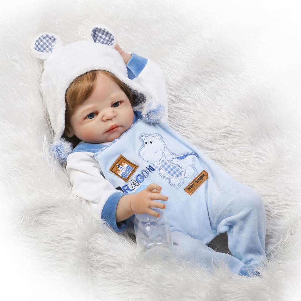 Soft Vinyl Life Like Baby Doll Boy with Cartoon Clothes Newborn Dolls Toy 22''