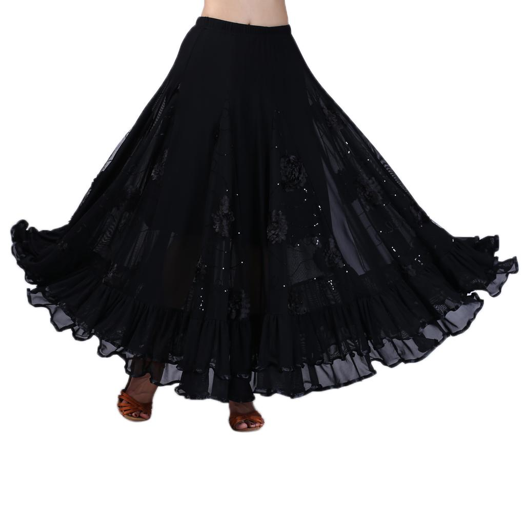 Flower Latin Salsa Cha Cha Flamenco Ballroom Dance Dress Tango Waltz Skirt