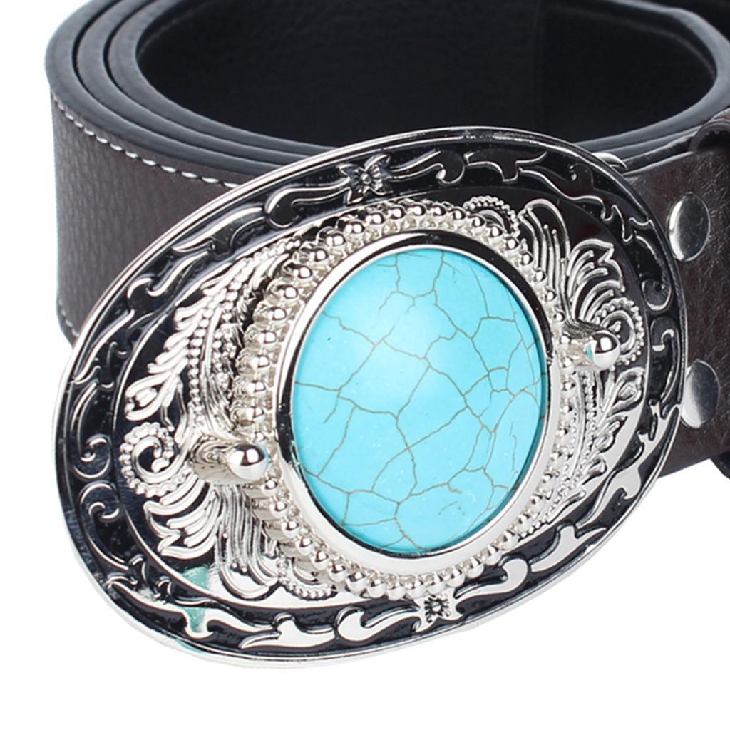 Cowboy Occidentale Cintura Blu Turchese Fibbia Donne Uomo Cintura Accessorio
