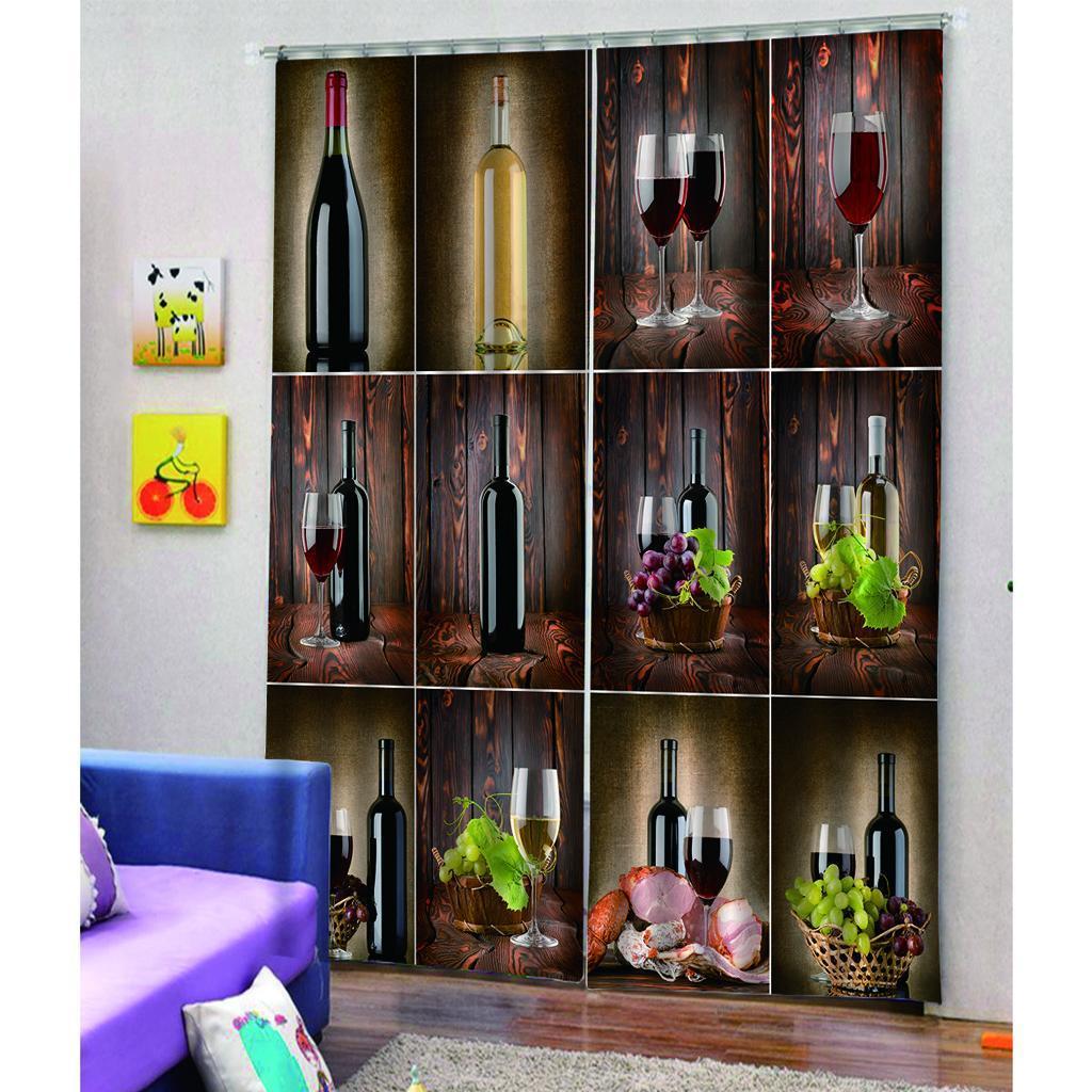 miniatura 3 - Tende per finestre decorative Stampa di bottiglie di vino, tende a ridurre