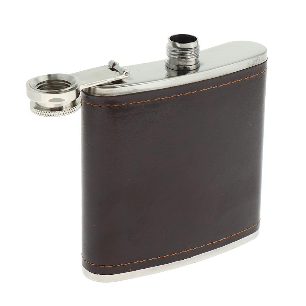 Sturdy-Stainless-Steel-Leak-Proof-Liquor-Wine-Hip-Flask-with-Leather-Shell thumbnail 6