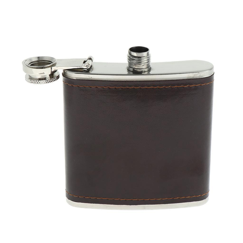 Sturdy-Stainless-Steel-Leak-Proof-Liquor-Wine-Hip-Flask-with-Leather-Shell thumbnail 7