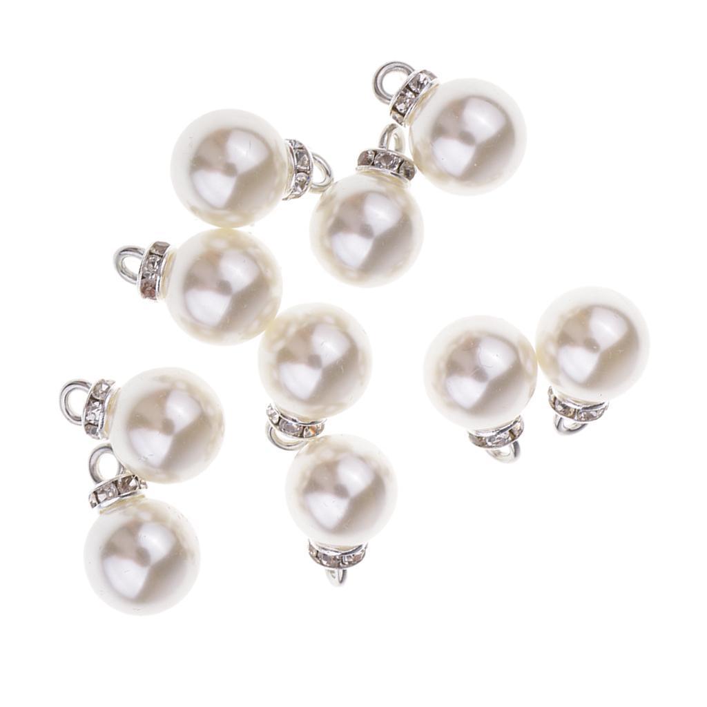 miniatura 11 - Pendenti con pendenti in perle da 10 pezzi con strass per creazione di