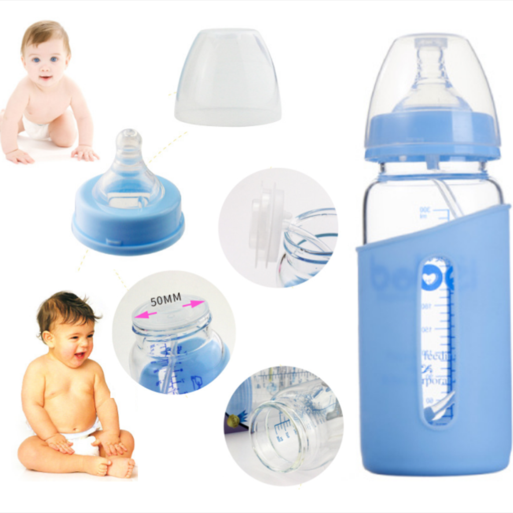 Infant Chemical Free Heat Resistant Baby Milk Formula Glass Bottle 300ml