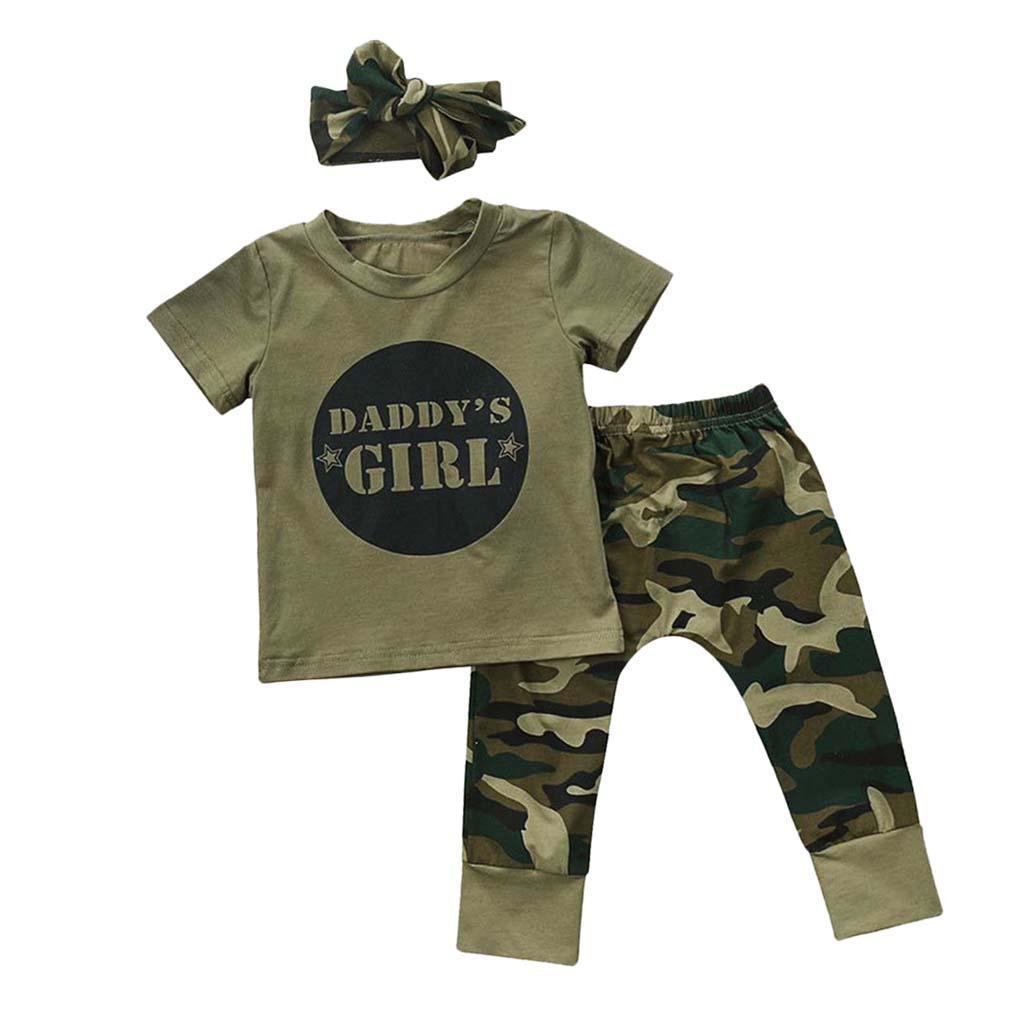 Bebe-Garcon-Fille-Camo-T-shirt-Hauts-Pantalons-Tenues-Ensemble-Vetements miniature 24