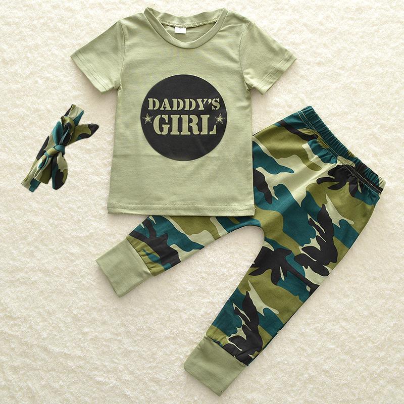 Bebe-Garcon-Fille-Camo-T-shirt-Hauts-Pantalons-Tenues-Ensemble-Vetements miniature 25