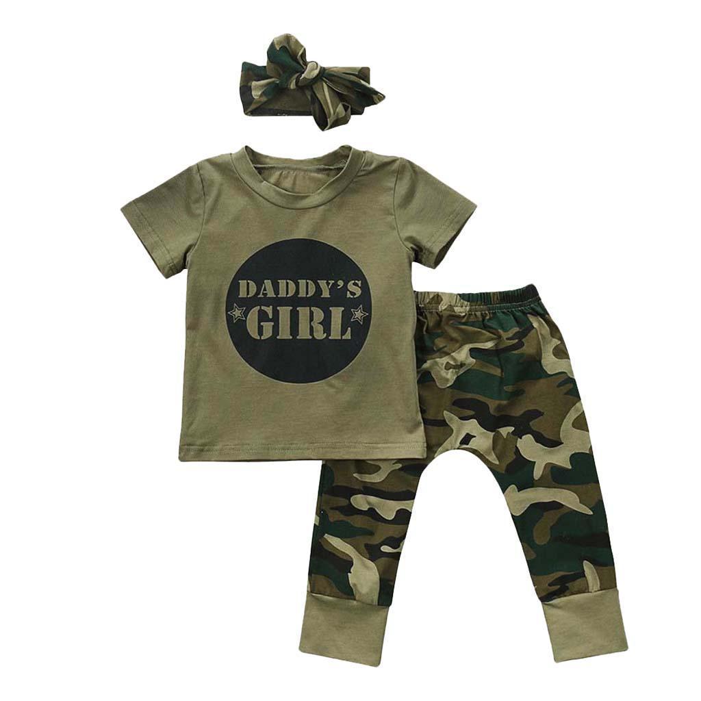 Bebe-Garcon-Fille-Camo-T-shirt-Hauts-Pantalons-Tenues-Ensemble-Vetements miniature 23