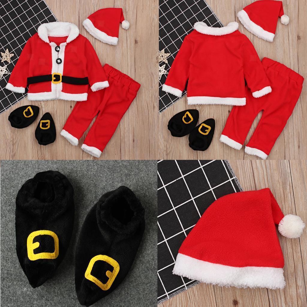 4Pc-Baby-Boy-Girl-Christmas-Santa-Claus-Costume-Top-Pants-Hat-Outfit-Clothes-Set thumbnail 10