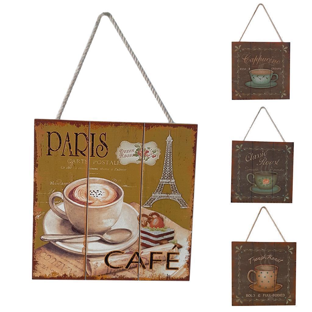 Targa-di-legno-del-segno-d-039-annata-per-la-decorazione-del-caffe miniatura 5