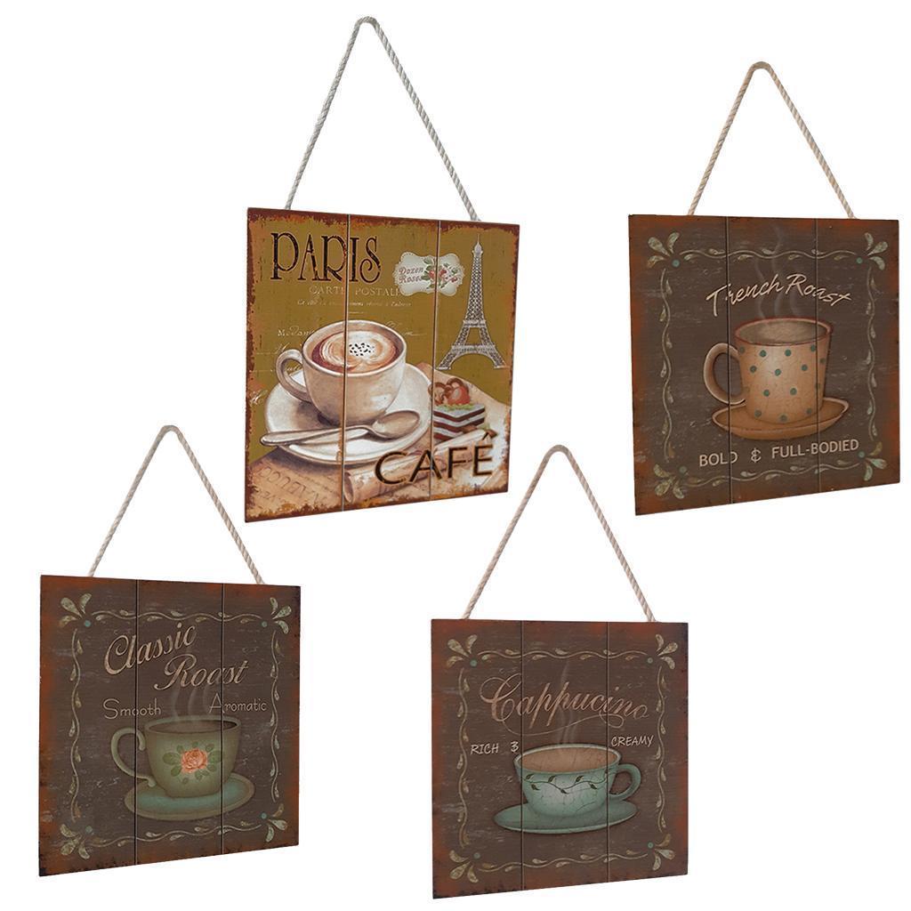 Targa-di-legno-del-segno-d-039-annata-per-la-decorazione-del-caffe miniatura 3