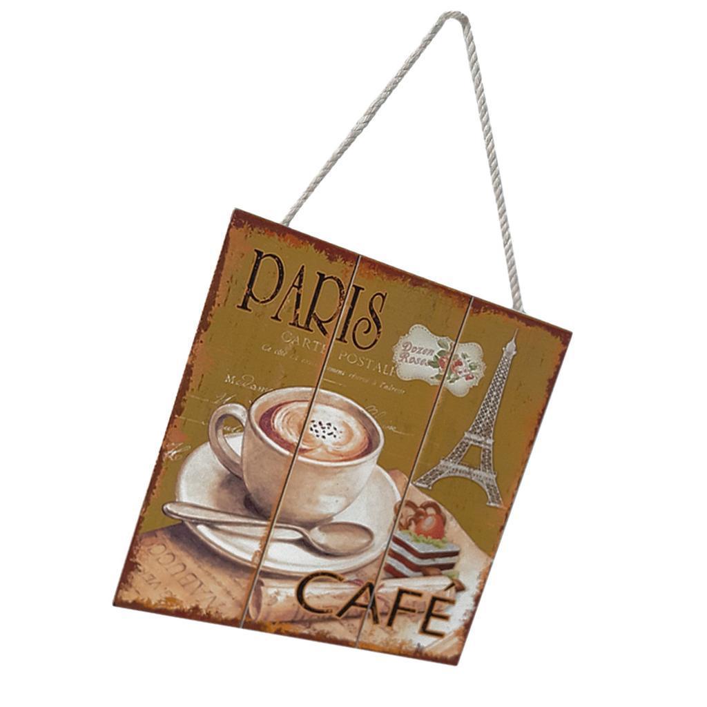 Targa-di-legno-del-segno-d-039-annata-per-la-decorazione-del-caffe miniatura 4