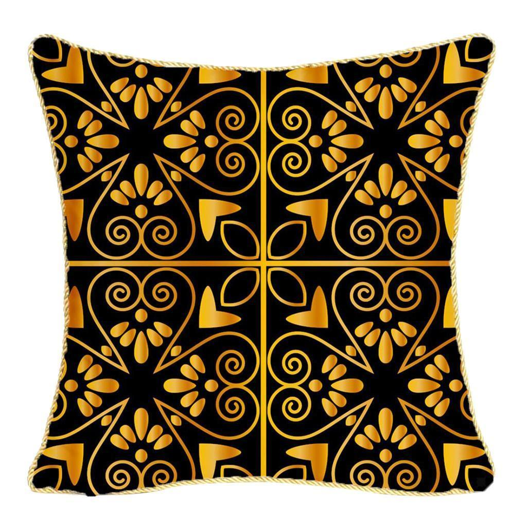 Square-Flannel-Pillowcase-Three-Stranded-Rope-Gold-Trimmed-Covers-Zipper miniature 26