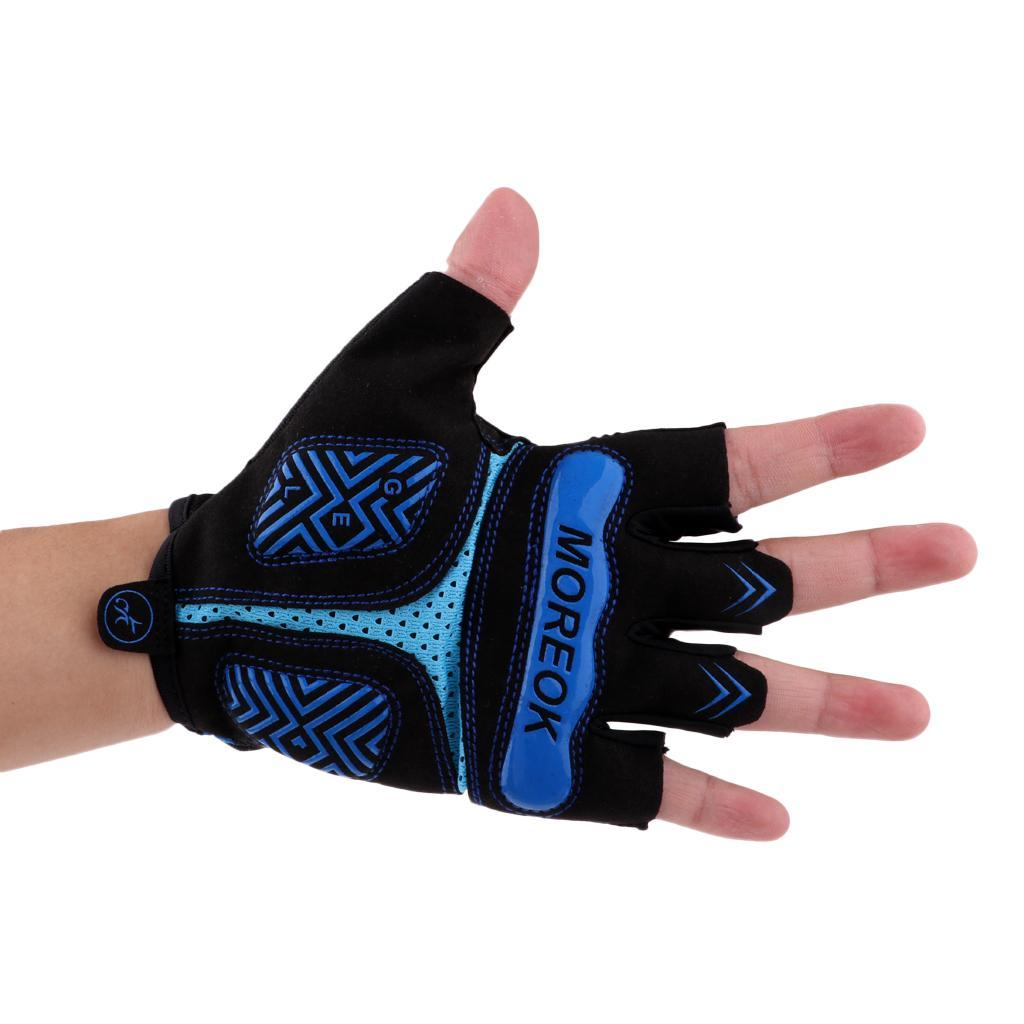Reflective-Cycling-Gloves-Half-Finger-Gel-Padded-Bike-Bicycle-Fitness-Gloves thumbnail 4