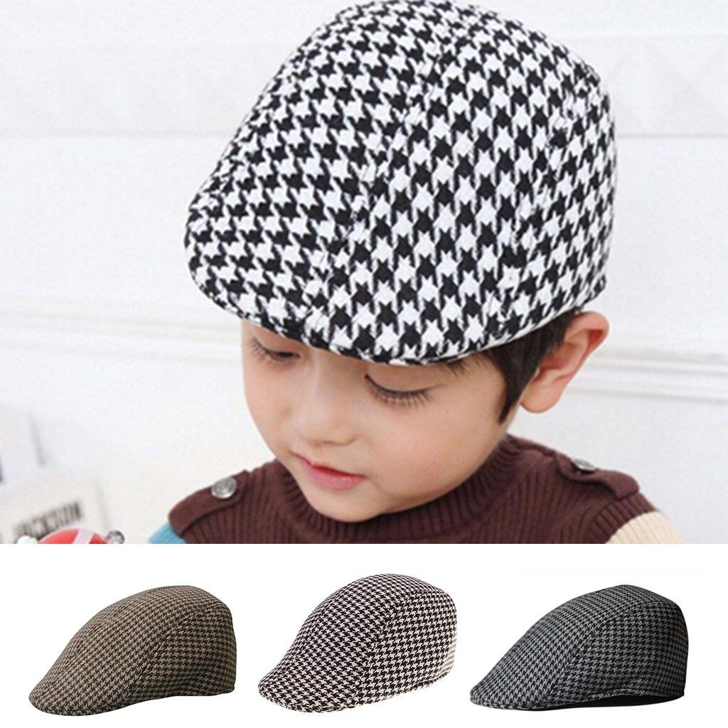 Garcon-Filles-Baseball-Beret-Casquette-Flat-Peaked-Toddler-Houndstooth-Cap-Decor miniature 14