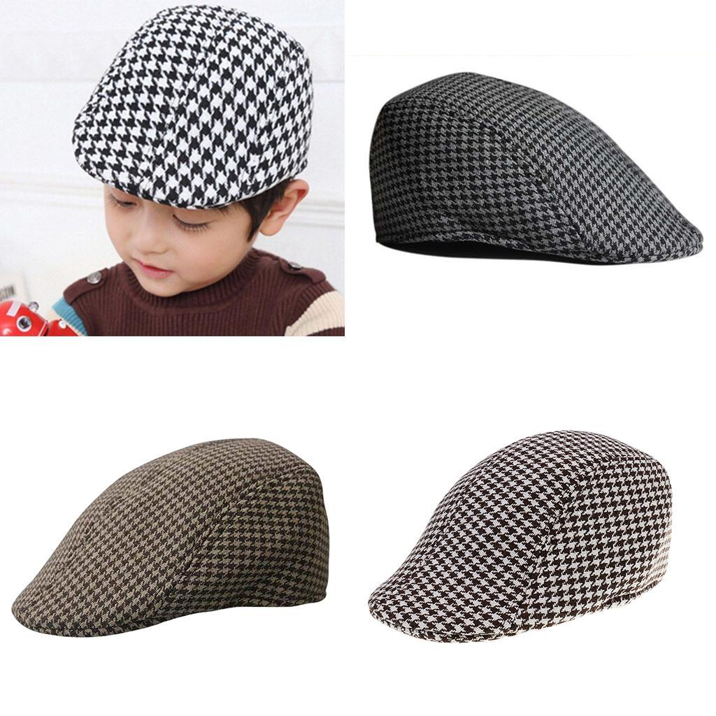 Garcon-Filles-Baseball-Beret-Casquette-Flat-Peaked-Toddler-Houndstooth-Cap-Decor miniature 15