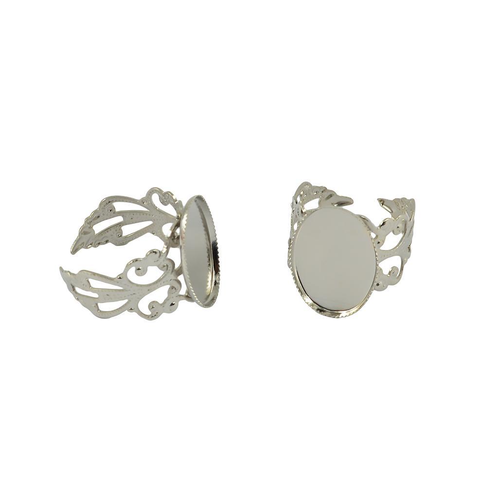 10PCs Cameo Frame Setting Rings Adjustable Hollow Bronze Tone
