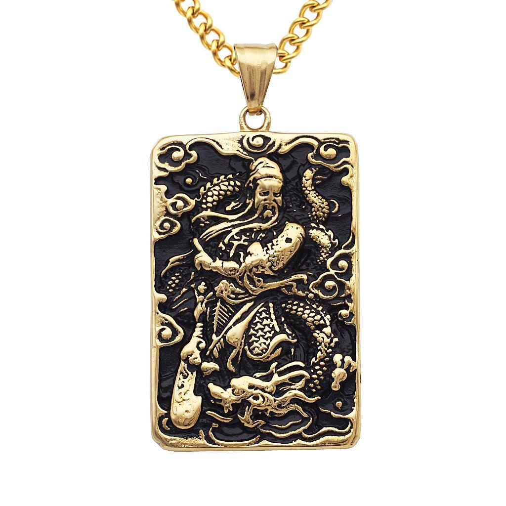 Mens-Stainless-Steel-Guan-Yu-Engraved-Hero-Pendant-Dog-Tag-Charms-Necklace thumbnail 4