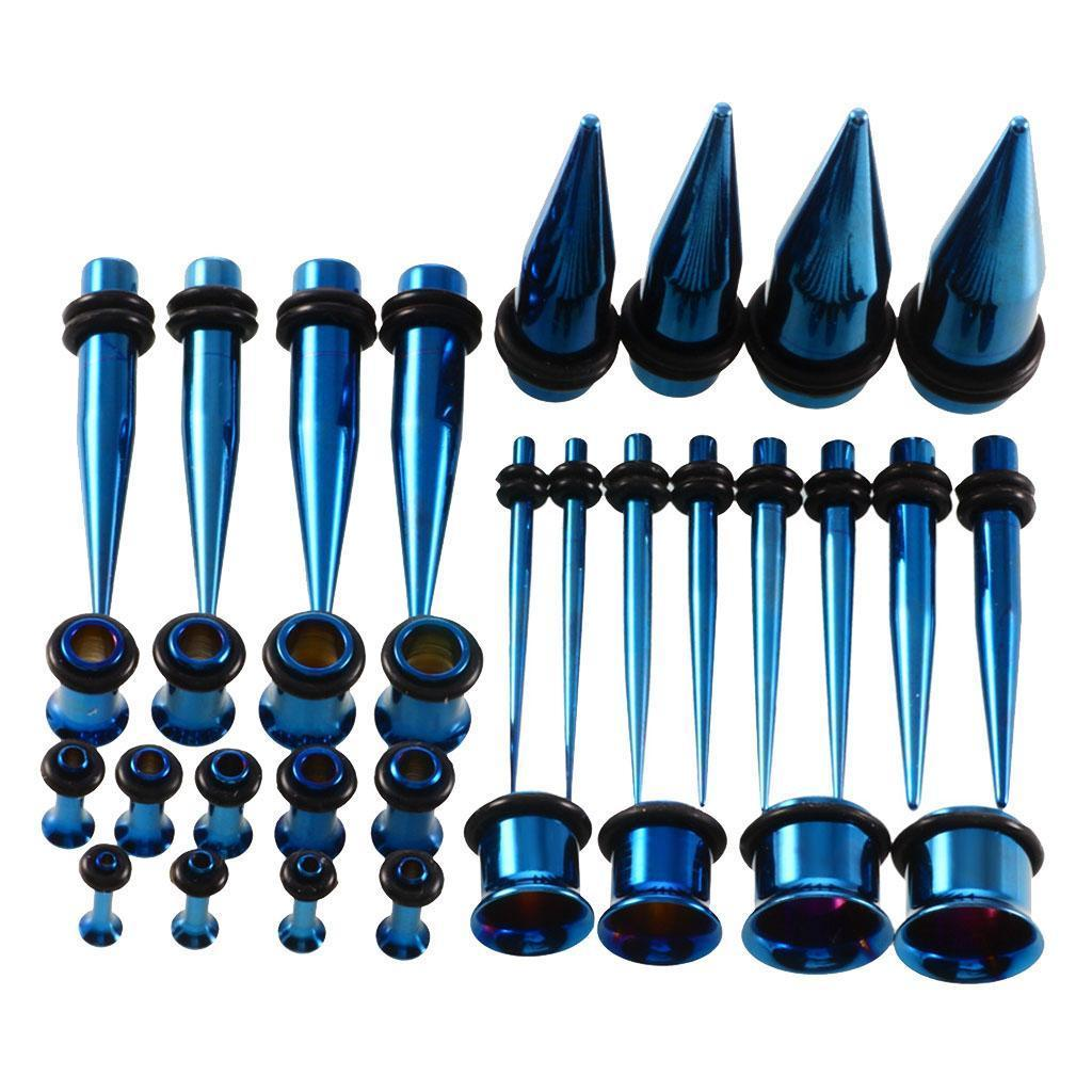 36-pezzi-Punk-Rock-Ear-Gauges-Kit-estensibile-Plugs-Espansori-Taper-14G-00G miniatura 14