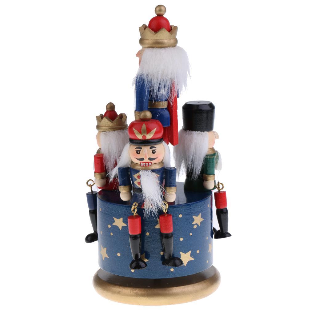 32CM Wooden Nutcracker Music Box Wind Up Clockwork Toy Home Decor Drummer