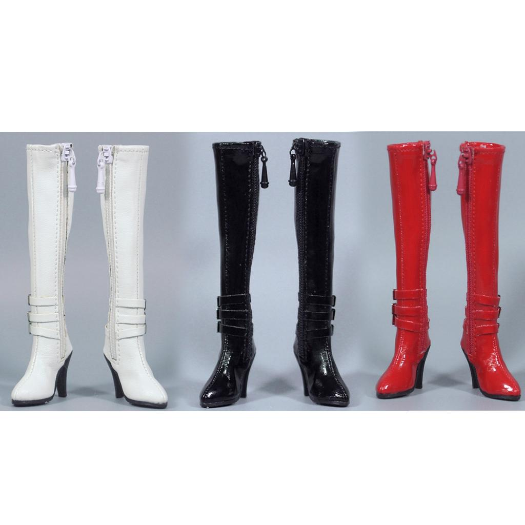 1//6 Female High Heels Red Zip Long Boots Shoes for 12/'/' Action Figure Toy