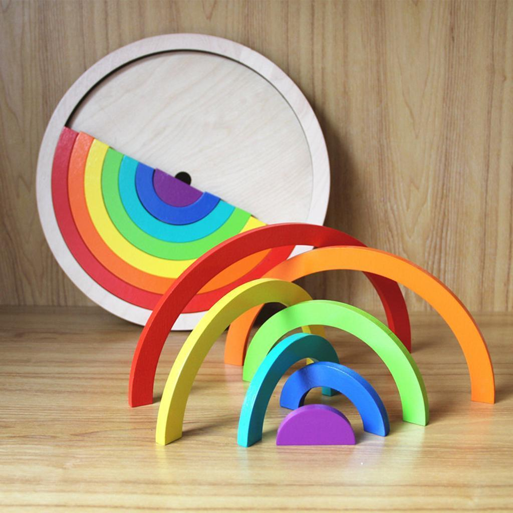 Wooden-Rainbow-Building-Stacking-Blocks-Montessori-Toy-Gift-for-Baby-Toddler thumbnail 23