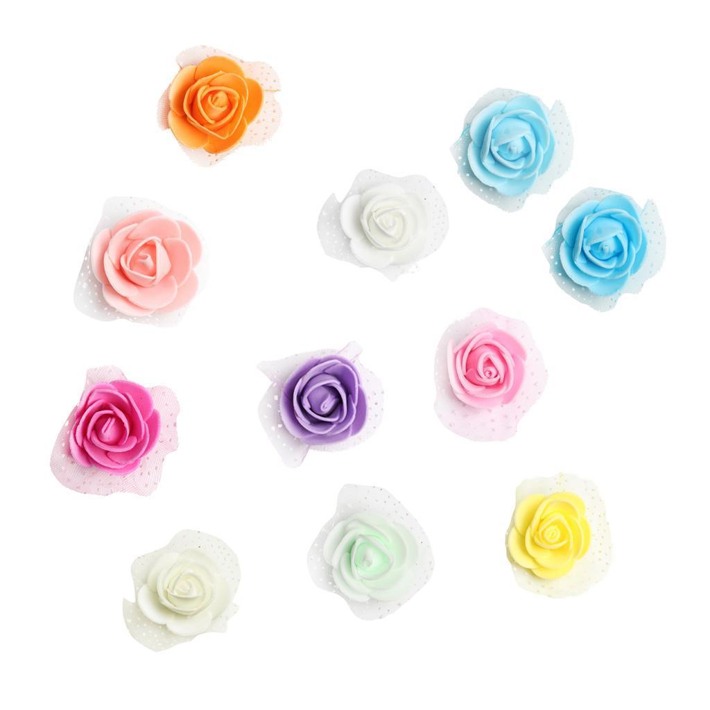 100-Pieces-Romantique-Mousse-Artificielle-Rose-Tete-Fleurs-De-Mariage miniature 3