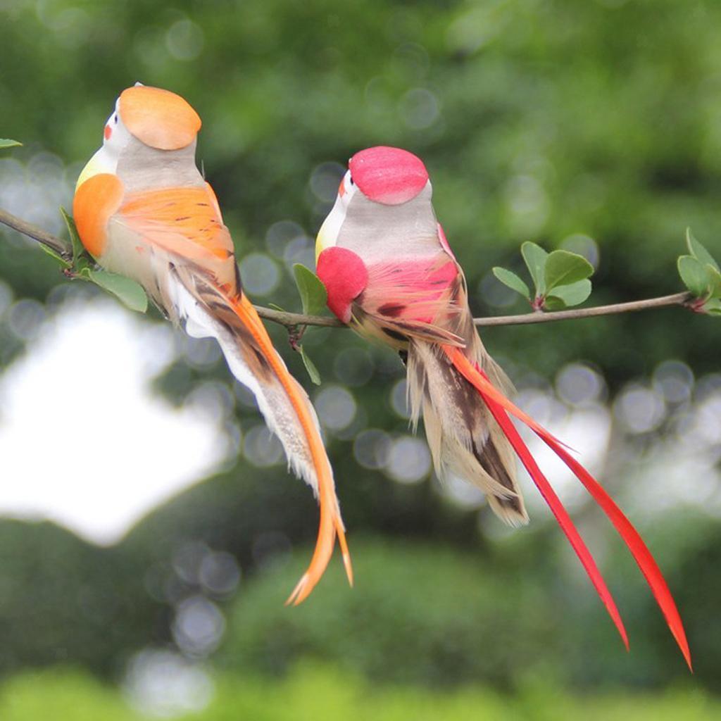 miniatura 9 - 12 Pezzi Uccelli Artificiali Schiuma con Piume Artigianato Multicolore