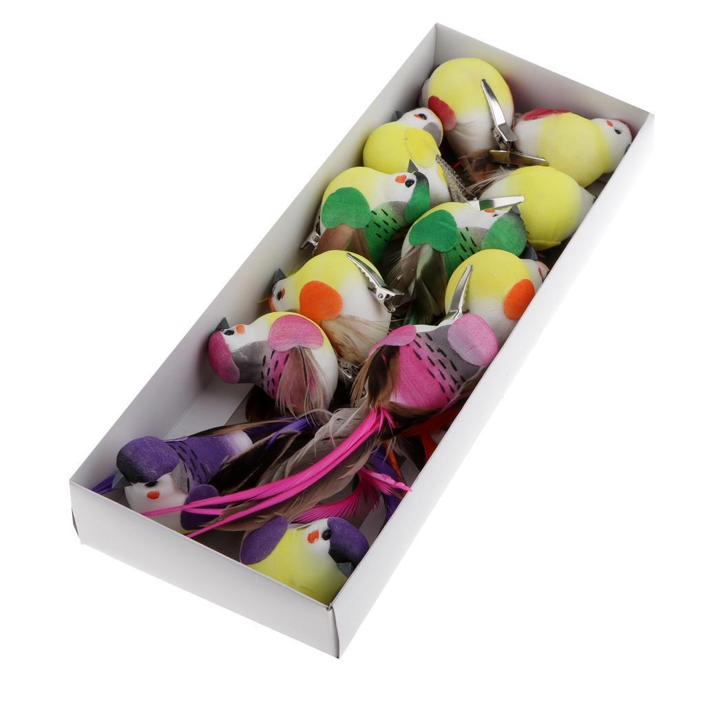 miniatura 7 - 12 Pezzi Uccelli Artificiali Schiuma con Piume Artigianato Multicolore