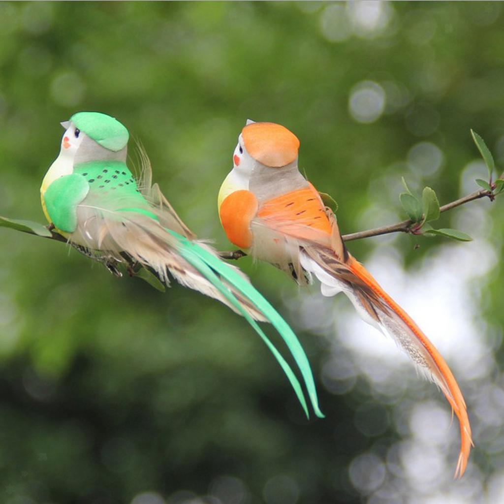 miniatura 8 - 12 Pezzi Uccelli Artificiali Schiuma con Piume Artigianato Multicolore