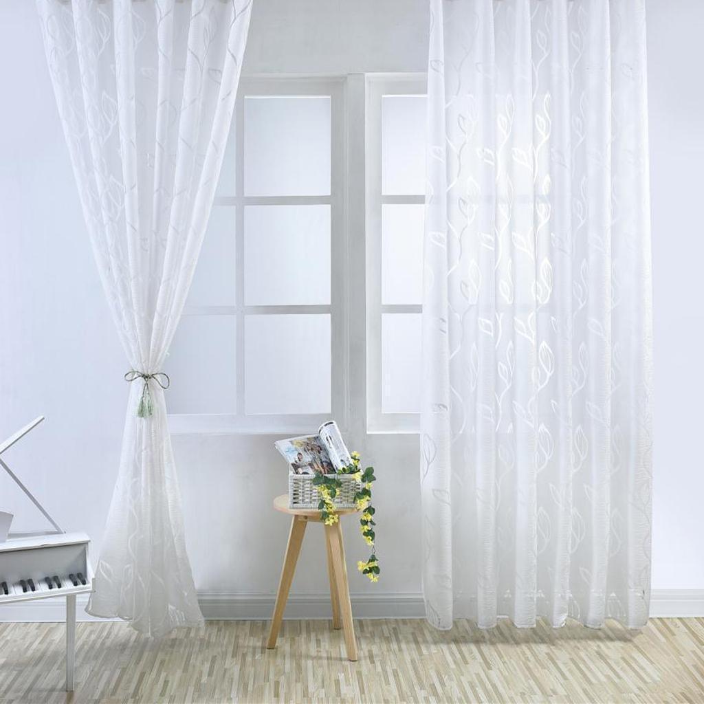 Rideaux Design Pour Chambre détails sur 2pcs rideaux voilages de fenêtre de feuille store pour chambre  salon 100*270cm