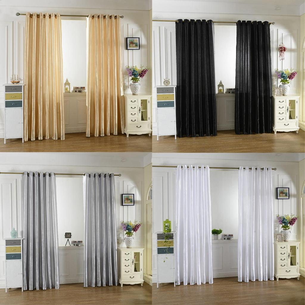 2pcs modern satin black block out window curtain for - Glass block windows in living room ...