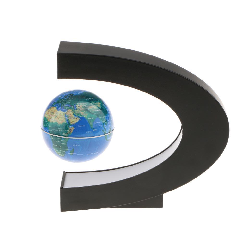 C-Shape-Magnetic-Levitation-Floating-World-Map-Globe-Rotating-LED-Light-EU thumbnail 4