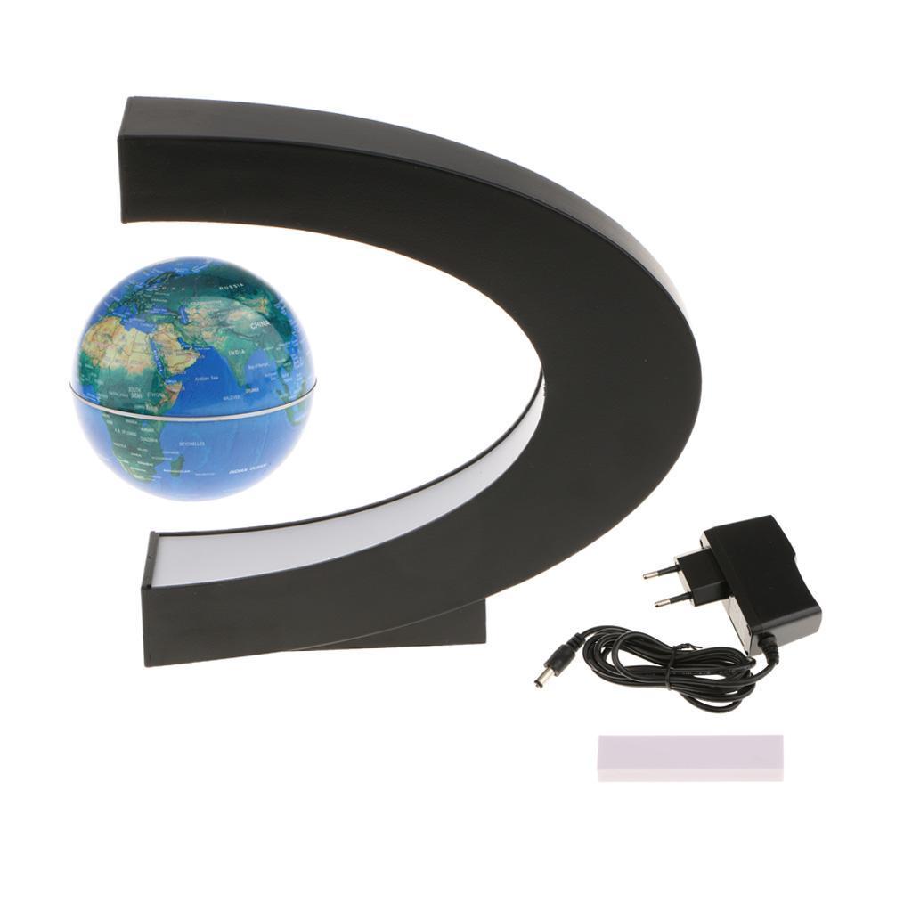 C-Shape-Magnetic-Levitation-Floating-World-Map-Globe-Rotating-LED-Light-EU thumbnail 7
