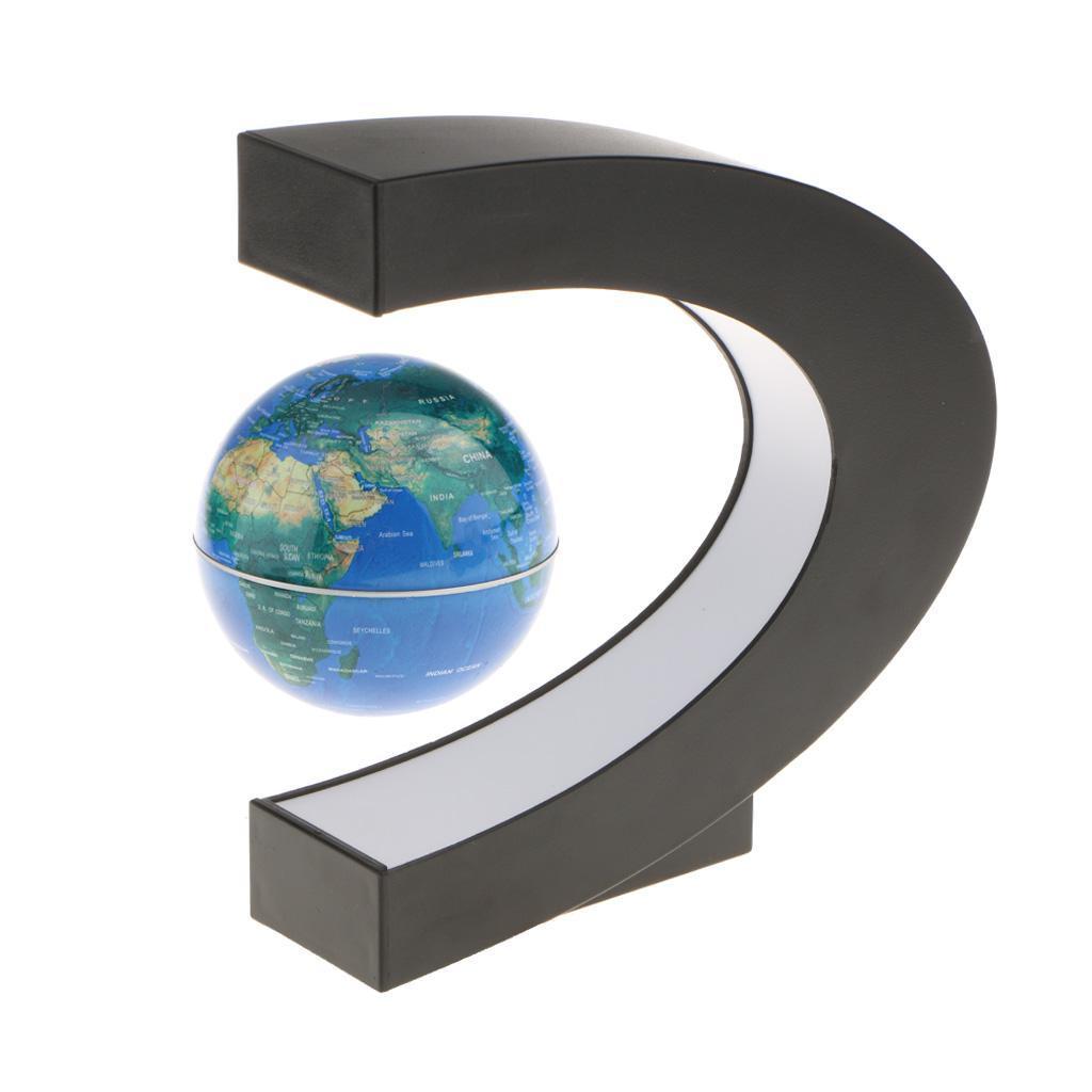 C-Shape-Magnetic-Levitation-Floating-World-Map-Globe-Rotating-LED-Light-EU thumbnail 5