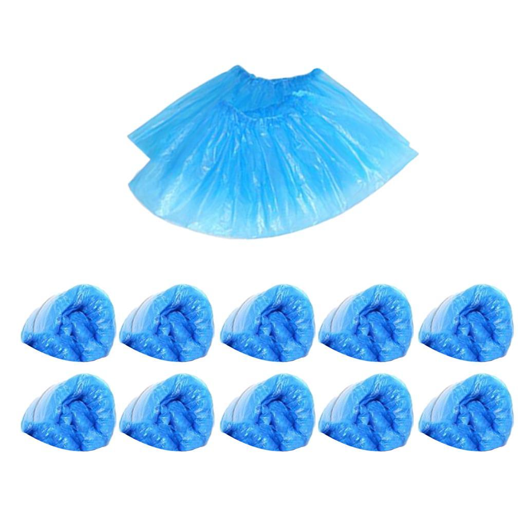 100Pcs Disposable Plastic Shoe Covers Cleaning Overshoes Protective Blue