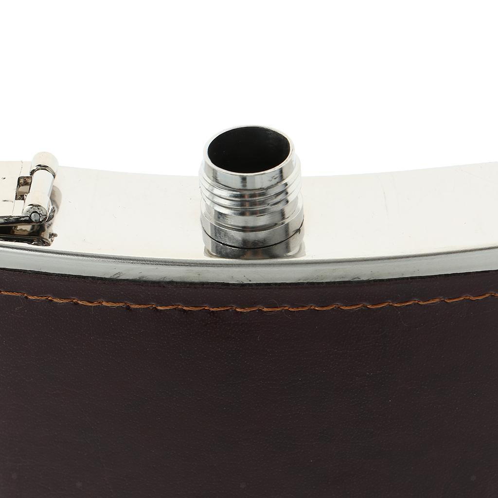 Sturdy-Stainless-Steel-Leak-Proof-Liquor-Wine-Hip-Flask-with-Leather-Shell thumbnail 9