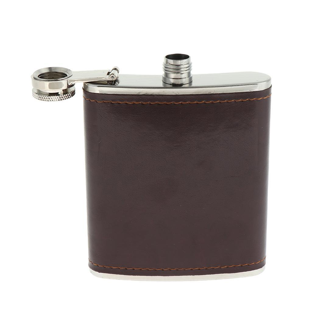 Sturdy-Stainless-Steel-Leak-Proof-Liquor-Wine-Hip-Flask-with-Leather-Shell thumbnail 10