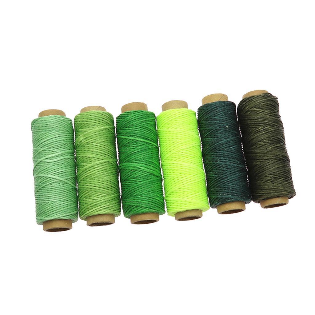 6pcs 1mm 50M Flat Sewing Waxed Cotton Waxing Thread Leather Craft Shoes Repair
