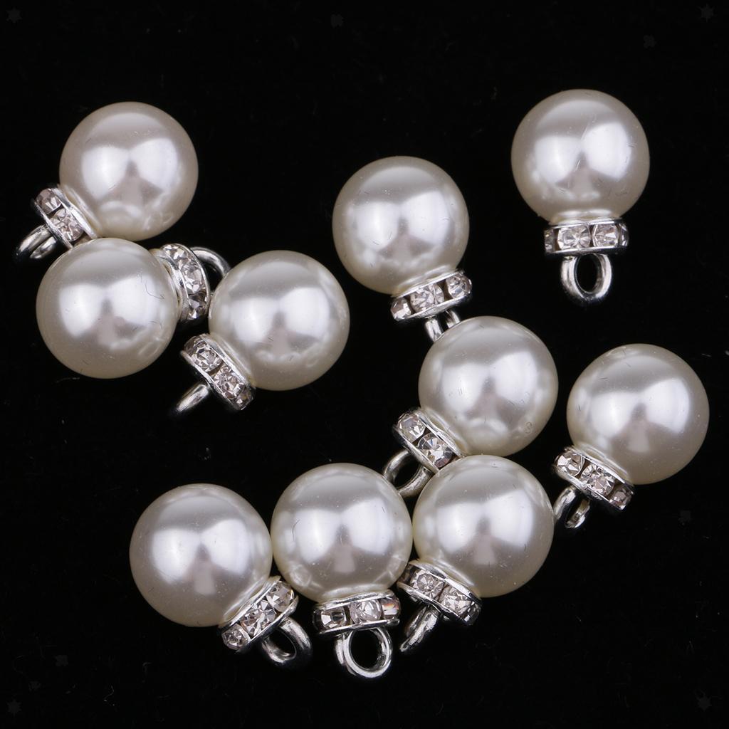 miniatura 15 - Pendenti con pendenti in perle da 10 pezzi con strass per creazione di