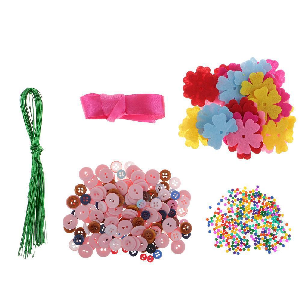 DIY Iron Wire Button Felt Bouquets Kit Handmade Buttons ...