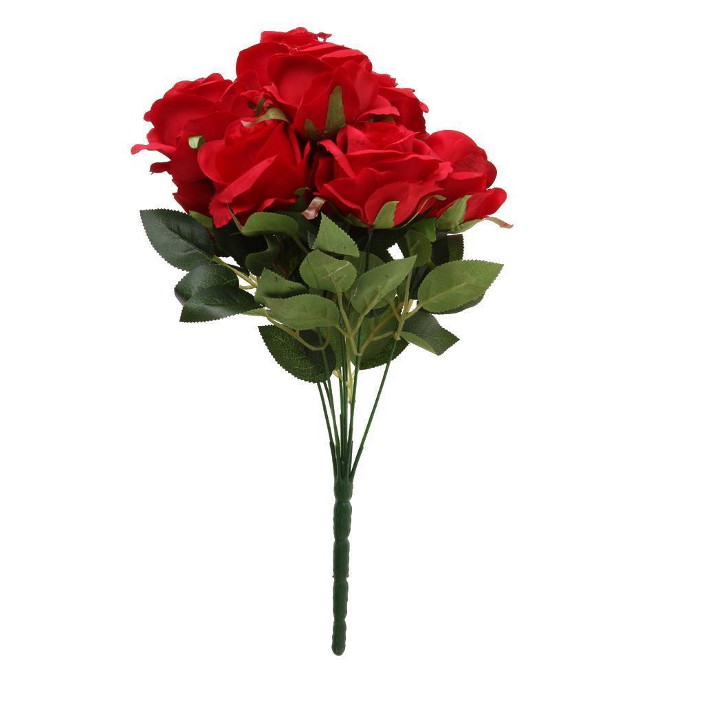 Large-9-HEADS-Artificial-Rose-Silk-Flowers-Fake-Floral-Valentines-Wedding-Decors thumbnail 13
