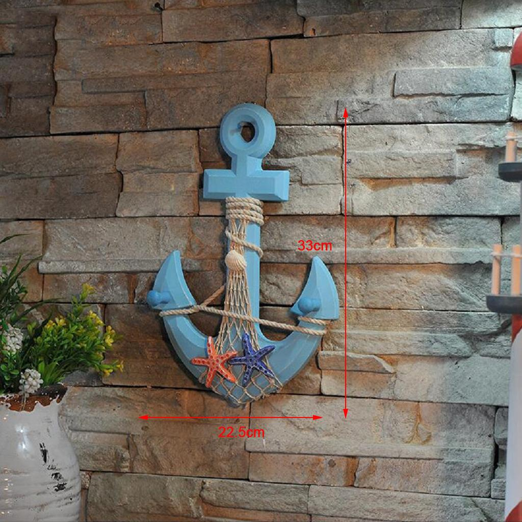 3 boat anchor buoy hooks hook seaside wood nautical beach hut decoration gift SQ