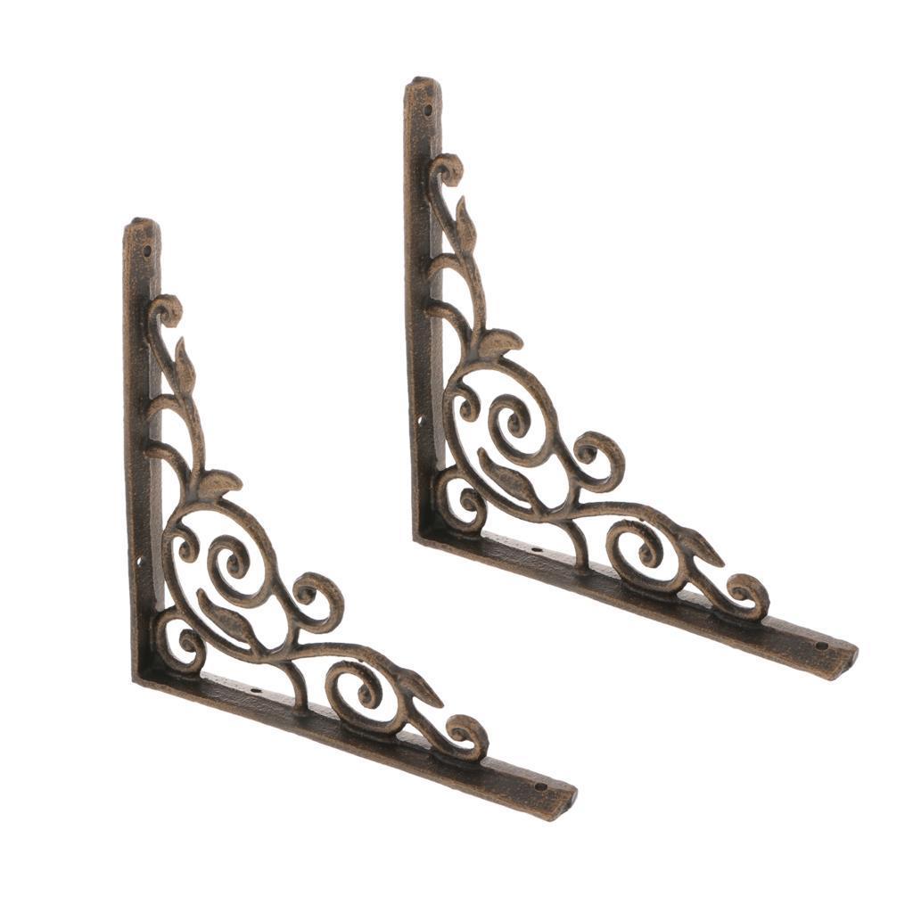 Cast-Iron-Shelf-Brackets-Supporter-Heavy-Duty-Load-Metal-Strong-Reinforced-Pairs miniature 5