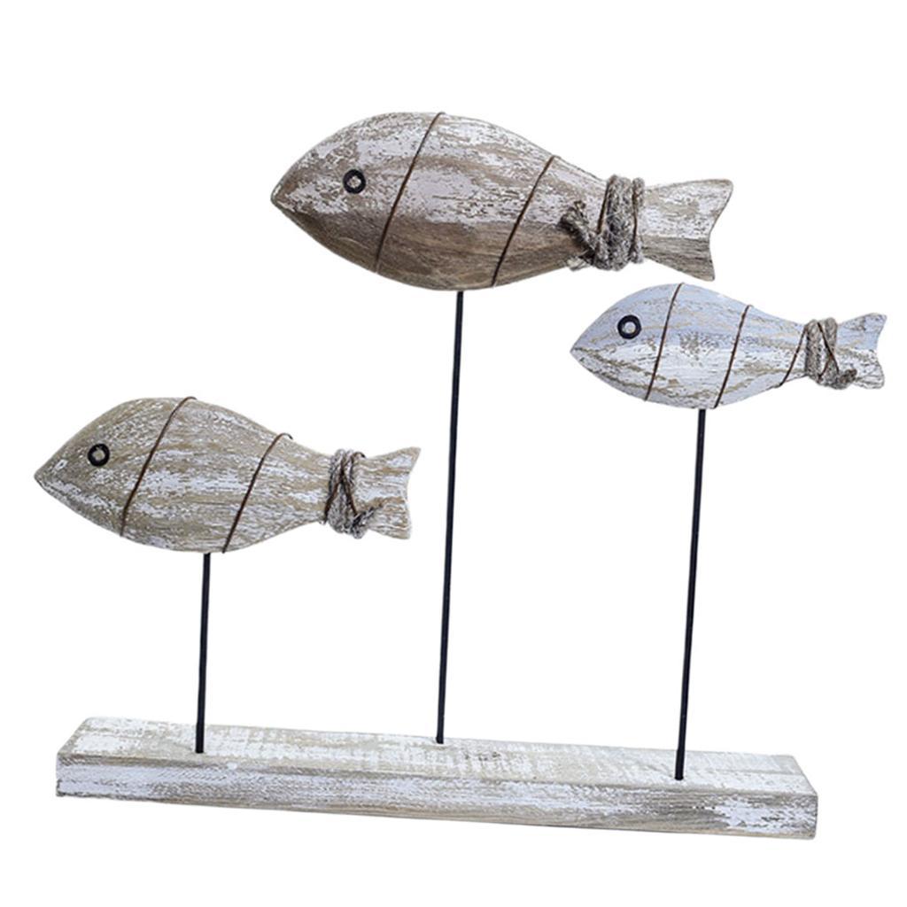 Details About Handcraft Wood Fish Sculpture Mediterranean Style Nautical Theme Home Decor